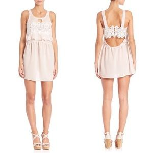 For Love and Lemons Blush Sienna Lace Cutout Dress